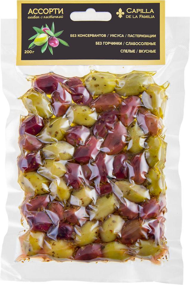 Оливки Capilla de la Familia ассорти с косточкой 200г (упаковка 3 шт.)