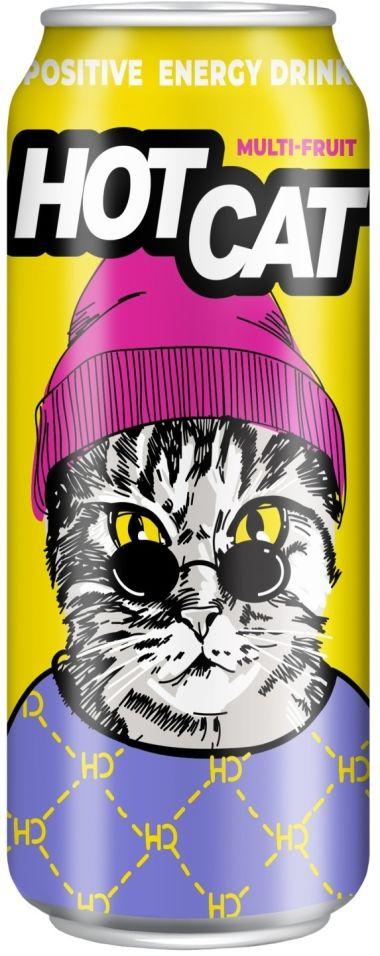 Напиток Hot Cat Multi-fruit энергетический 450мл