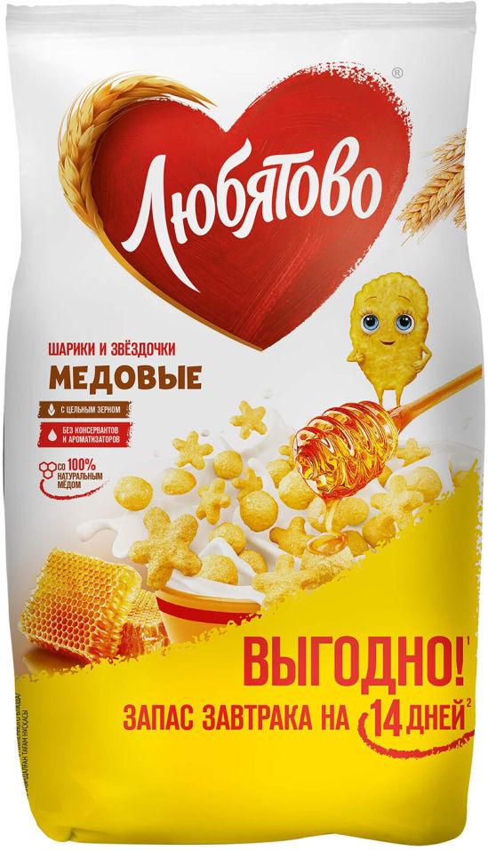 Сухой завтрак Любятово Медовые шарики и звездочки 420г