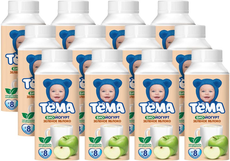 Биойогурт питьевой Тема Зеленое яблоко 2.8% 210г (упаковка 12 шт.)