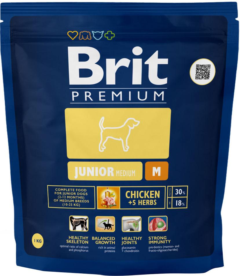 Сухой корм для собак Brit Premium Junior M Курица 1кг