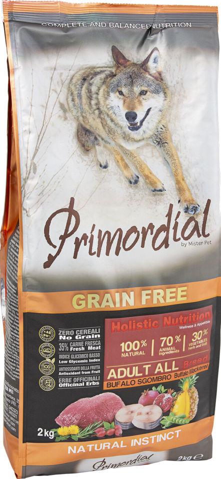 Сухой корм для собак Primordial Буйвол и Макрель 2кг