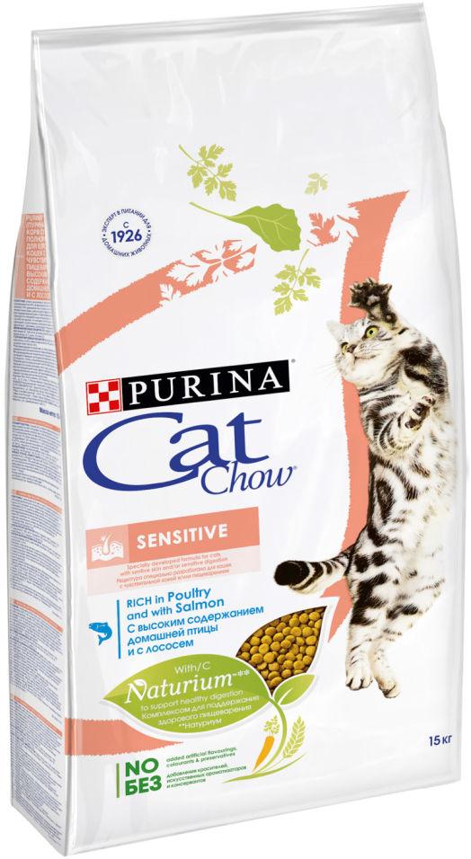Сухой корм для кошек Cat Chow Adult Sensitive с домашней птицей и лососем 15кг