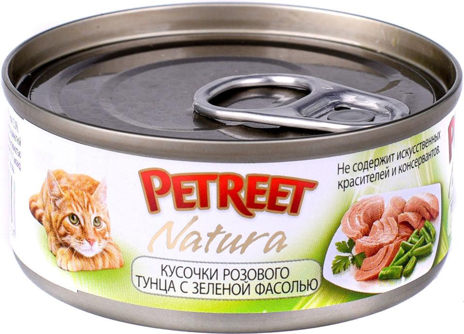 Корм для кошек Petreet Кусочки розового тунца с зеленой фасолью 70г