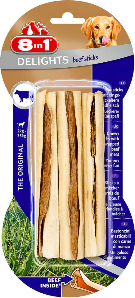 Лакомство для собак 8 in 1 Delights Beef палочки с говядиной для мелких и средних собак 13см 3шт