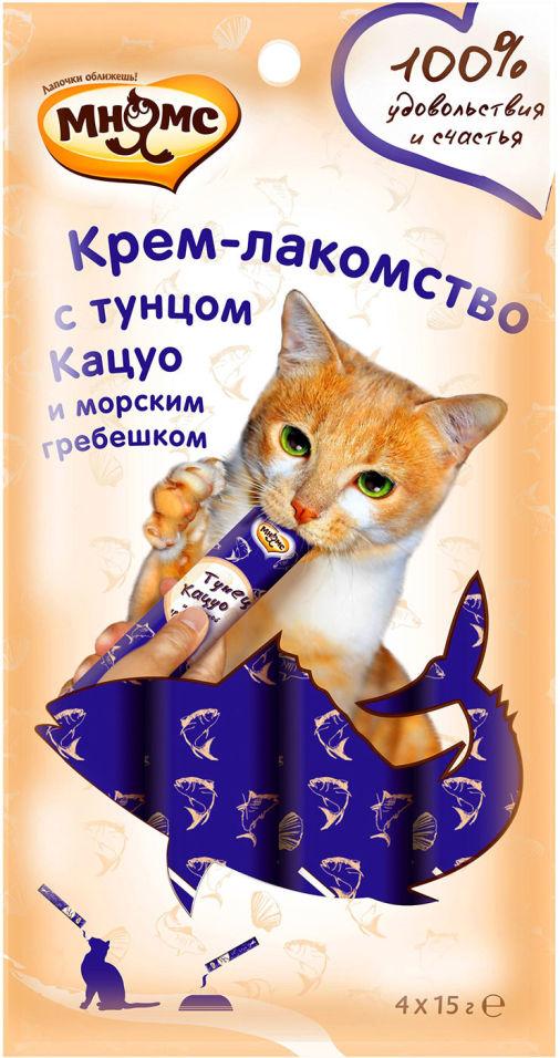 Крем-лакомство для кошек Мнямс с тунцом Кацуо и морским гребешком 15г*4шт