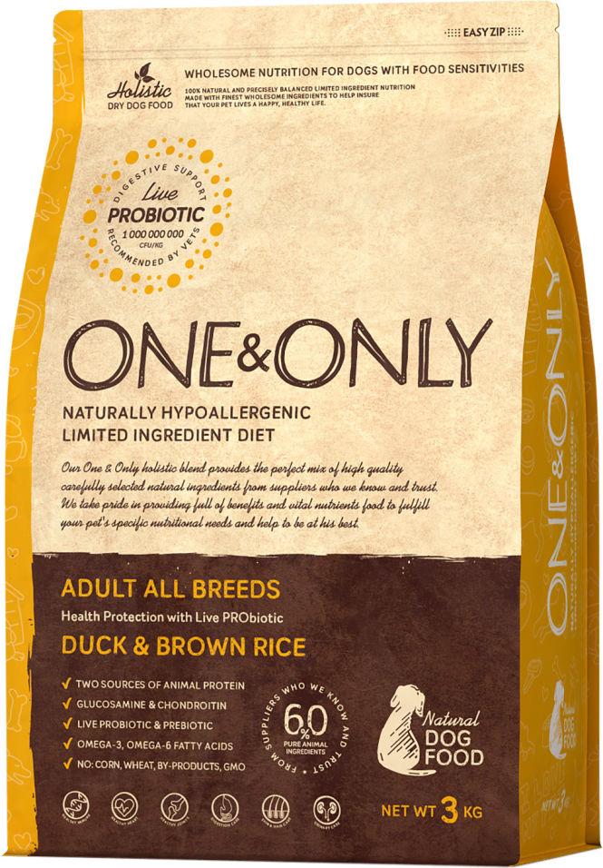 Сухой корм для собак One&Only Adult аll утка с рисом 3кг