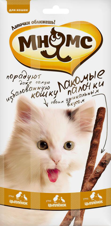 Лакомство для кошек Мнямс Лакомые палочки с цыпленком и уткой 13.5см 3шт*5г
