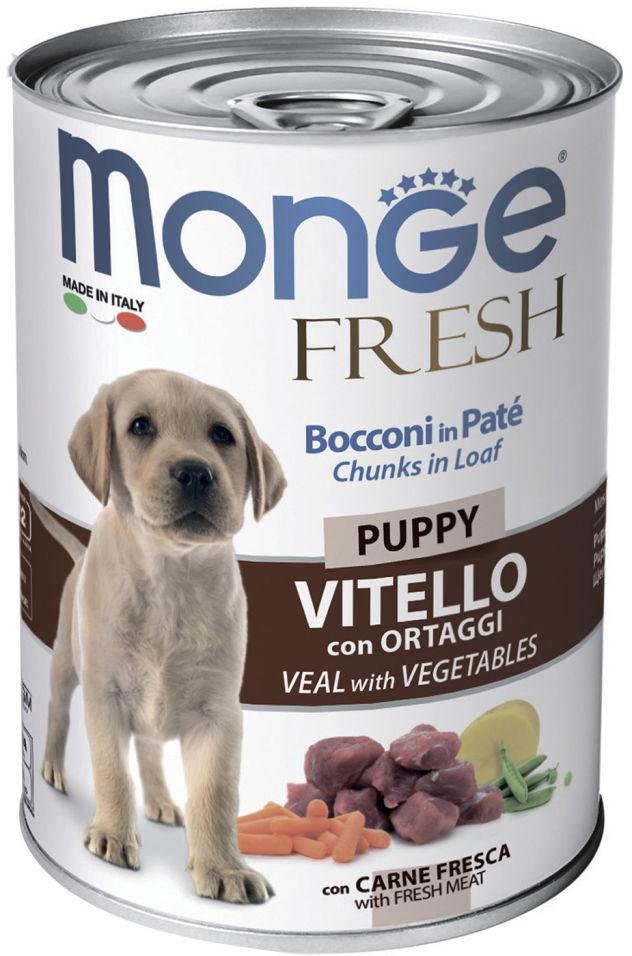 Отзывы о Корме для щенков Monge Dog Fresh Chunks in Loaf рулет телятины с овощами 400г