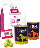 Набор корма для собак Brit Говядина и печень 850г + Говядина и сердце 850г + Сухой корм для собак Brit Care Ягненок с рисом для щенков крупных пород 3кг + Игрушка для собак Kong Air Теннисный мяч 3шт