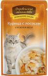 Корм для кошек Деревенские лакомства Курица с лососем в нежном желе 70г