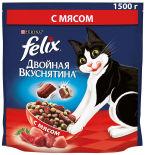 Сухой корм для кошек Felix Двойная Вкуснятина с мясом 1.5кг