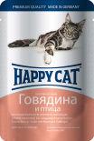 Корм для кошек Happy Cat Говядина и птица 100г