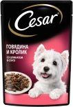Корм для собак Cesar говядина и кролик со шпинатом в соусе 85г