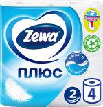 Туалетная бумага Zewa Плюс Белая 4 рулона 2 слоя