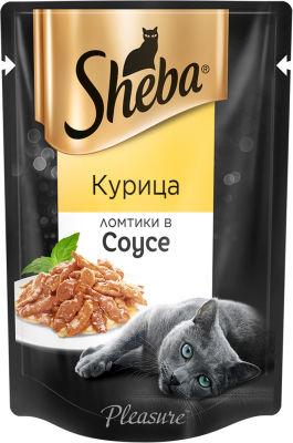 Корм для кошек Sheba Pleasure Ломтики с курицей в соусе 85г