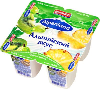 Продукт йогуртный Alpenland Ананас-киви крыжовник 0.3% 4шт*95г