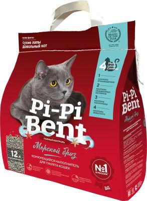 Наполнитель для кошачьего туалета Pi-Pi Bent комкующийся Морской бриз 12л