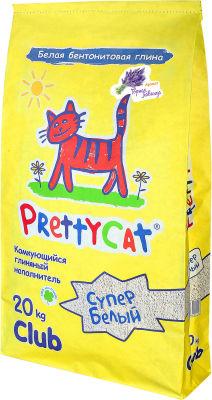 Наполнитель для кошачьих туалетов PrettyCat Cупер белый с ароматом лаванды 20кг