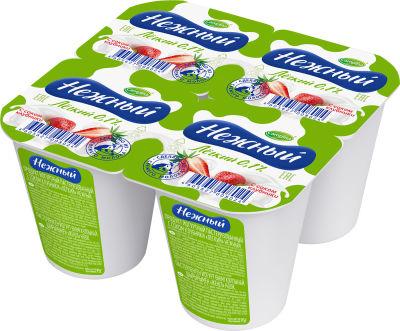 Продукт йогуртный Нежный с пюре клубники 0.1% 4шт*100г