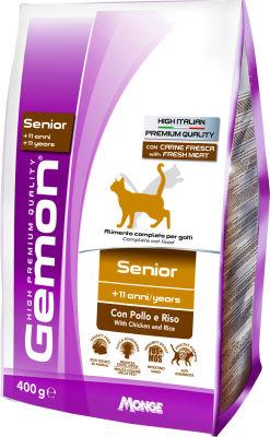 Сухой корм для кошек Gemon Cat для пожилых кошек с курицей и рисом 400г