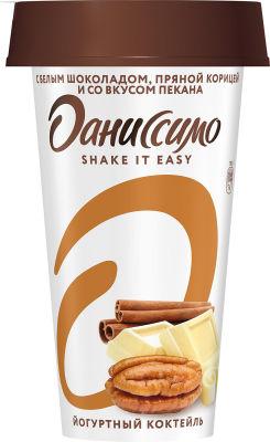 Коктейль Даниссимо кисломолочный йогуртный с белым шоколадом пряной корицей со вкусом пекана 2.8% 190г