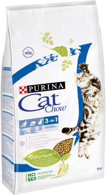 Сухой корм для кошек Cat Chow Feline 3in1 с домашней птицей и индейкой 15кг