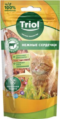Лакомство для кошек Triol Нежные сердечки Говядина-треска 40г