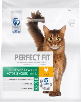 Сухой корм для кошек Perfect Fit Sterile с курицей 1.2кг