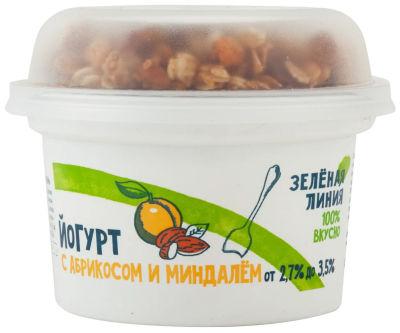 Йогурт Зеленая линия с абрикосом миндалем и гранолой с изюмом 2.7-3.5% 215г