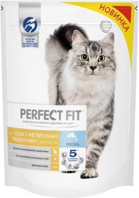 Сухой корм для кошек Perfect Fit Sensitive с лососем 650г