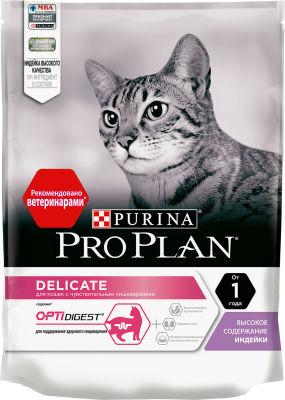 Сухой корм для кошек Pro Plan Optidigest Delicate для чувствительного пищеварения с индейкой 200г