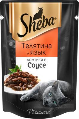 Корм для кошек Sheba Pleasure Ломтики из телятины и языка в соусе 85г